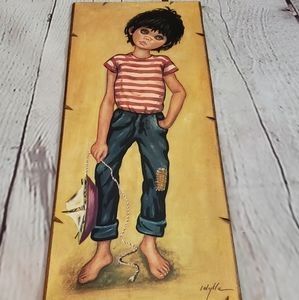 Vintage French Wood Board Art Boy with Boat